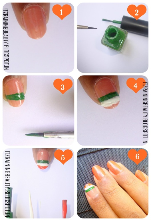 indian flag step by step nailart (2)